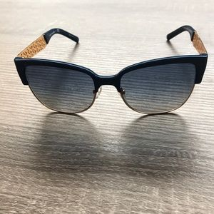 Auth. Tory Burch Clubmaster Navy Gold Sunglasses